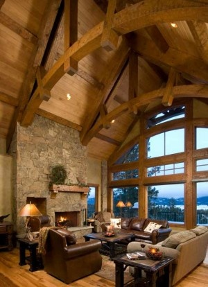 timber frame house in Idaho mountians
