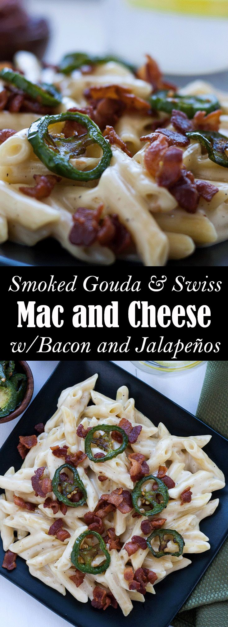 This easy flavorful grown up version of Gouda and Swiss mac n cheese with bacon and fried jalapeños is perfect for your next side dish or even main meal!