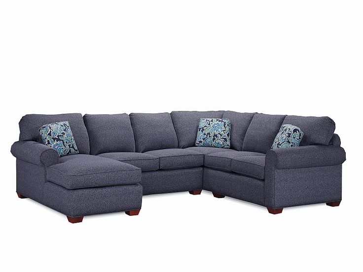 Blue Sectional With Playful Accent Pillows, By Lancer Furniture