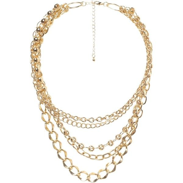 Mixed Chain Necklace ($5.29) ❤ liked on Polyvore featuring jewelry, necklaces, accessories, collares, chunky chain necklaces, multi layer necklace, collar necklaces, gold chain necklace and chunky gold necklace