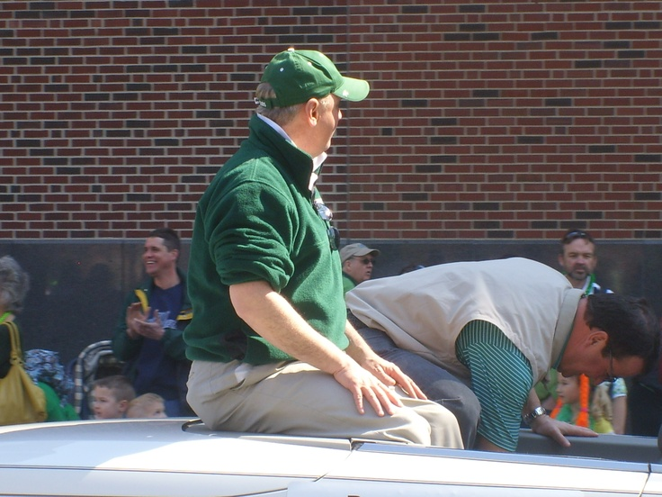 Chuck Lofton, Weather Man for WTHR Channel 13  NBC.  St.Patrick's Day Parade, Downtown Indianapolis, Indiana.