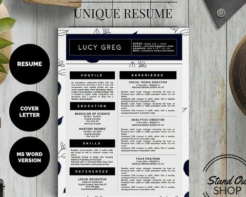 beautiful resume designs for microsoft word by stand out shop httpwww - Beautiful Resumes