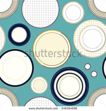 Seamless pattern with plates #vectorpattern #patterndesign #seamlesspattern #kitchen