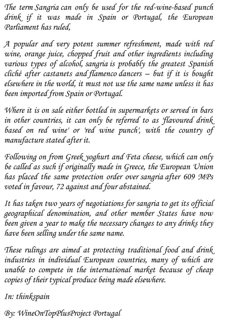 SANGRIA IS ONLY SANGRIA if it is made in Spain or Portugal, rules EU