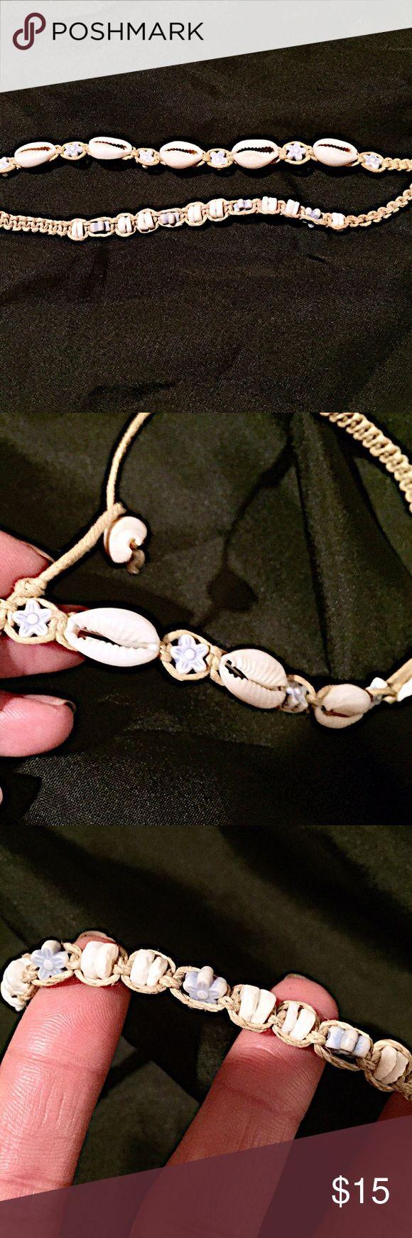 🔆NWOT Seashell Choker and Bracelet🔆 NWOT braided seashell choker and bracelet. With light blue flower beads. Jewelry