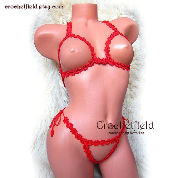 Sexy crochet red open bra & thong g-string erotic by Crochetfield