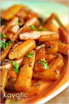 Caramelized Carrots. This sounds delicious - and like a healthy side dish for Thanksgiving. Because in the dirty south we're all about heavy, fried side dishes!