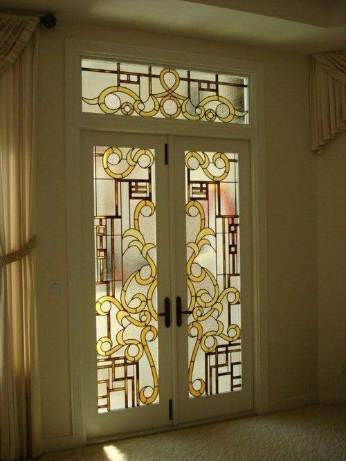 Stained glass door for the home pinterest stained for Glass door in front of exterior door