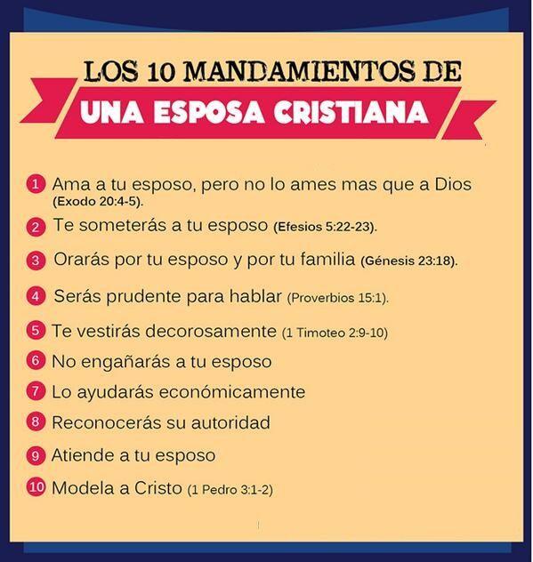 Los 10 mandamientos de una esposa cristiana.