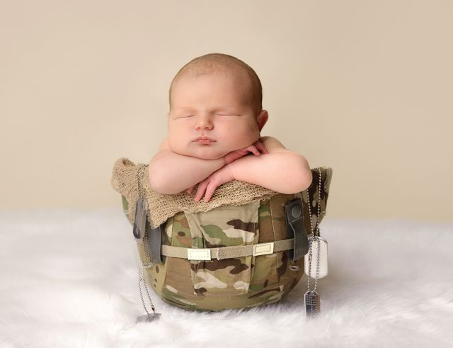 Inspiration For New Born Baby Photography : newborn military helmet