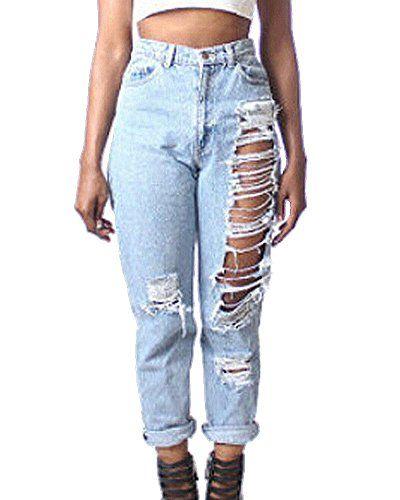 8c2005091 Mujeres Anchos Vaqueros Rasgado Rotos Agujero Ocio Estilo Jeans Pantalones  Boyfriend
