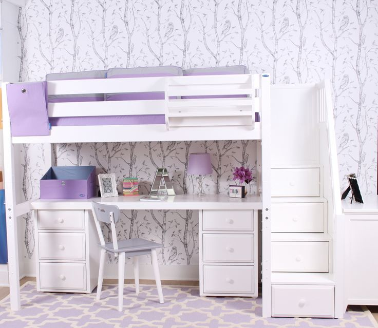 Maxtrix High Loft Bed with Staircase. Choose the Loft Bed, Method of climbing, Desk Style & Storage! Now Shipping Free Canada Wide.