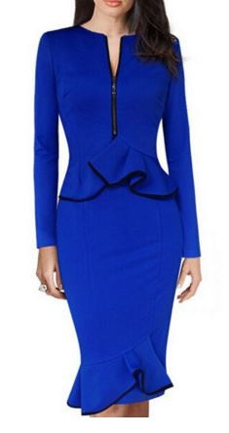 Gorgeous Color! Bright Sapphire Blue + Black Trim V-Neck Long Sleeve Waist Flounced Bodycon Peplum Party Dress Fashion #Elegant #Sapphire #Blue #Black #Party #Dress #Fashion