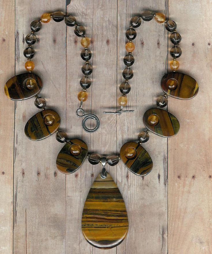 The Eye Or The Tiger - Tiger Iron, Citrine, Freshwater Pearls, Sterling Silver Necklace by ChicStatements on Etsy