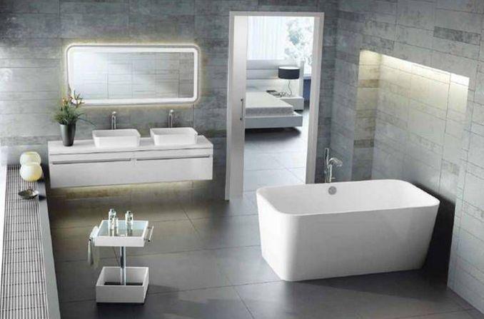 Bathroom plumbing and hardware by Faucets N' Fixtures. #bathroom #interiordesign #contemporarybathrooms