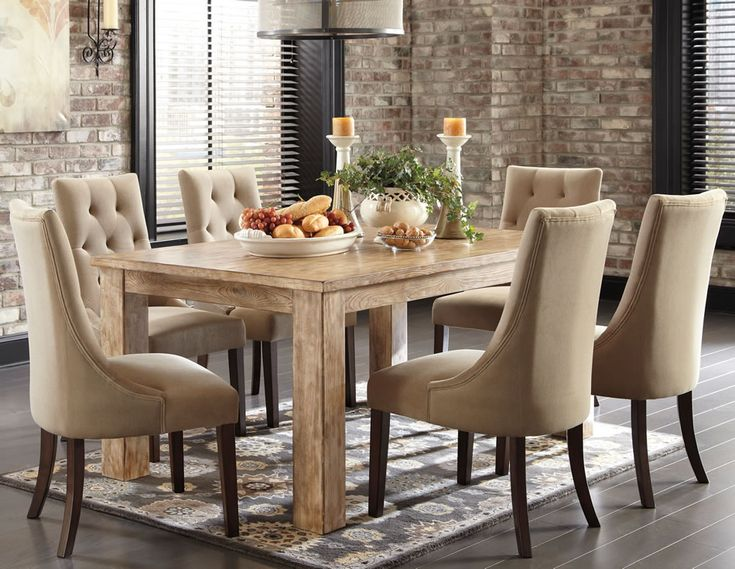 Charming Ashley Furniture Mestler Rectangular Dining Room Table Set In Bisque