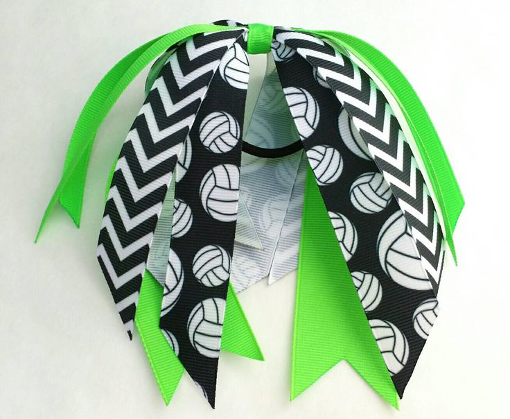Custom volleyball bow, volleyball team bows, ponytail ribbon streamer bow, neon green hair streamer, green volleyball hair bow - pinned by pin4etsy.com