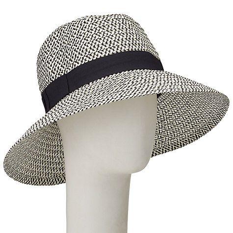 Buy John Lewis Down Turn Brim Ribbon Garden Hat, Black/White Online at johnlewis.com