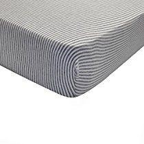 Burt's Bees Baby - Bee Essentials Stripe Crib Sheet, 100% Organic Crib Sheet for Standard Crib and Toddler Mattresses (Heather Grey)