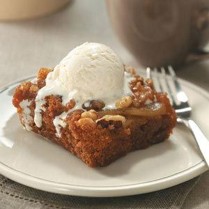 Spiced Pear Upside-Down Cake Recipe from Taste of Home -- shared by Lisa Varner of Charleston, South Carolina