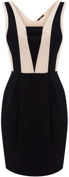 Oasis Colourblock Panel Dress in Beige (black & white) $80