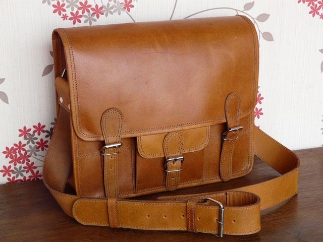 Scaramanga leather satchel