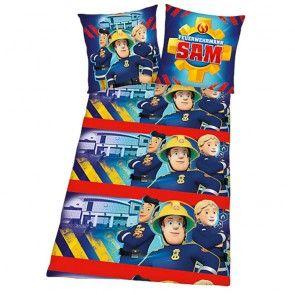 Bunte Flanell Kinderbettwäsche Motiv Feuerwehrmann Sam von Herding