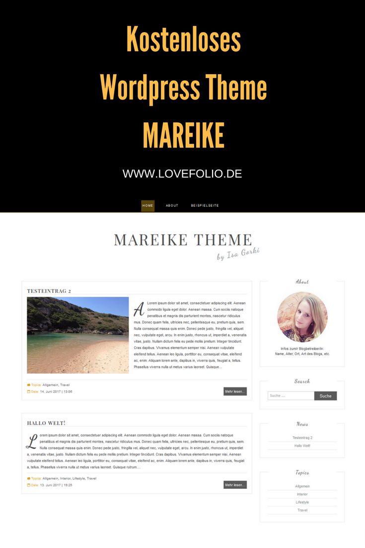 kostenlos / free responsive Wordpress Theme Mareike. Weiß, schwarz, gold, Blogger Theme
