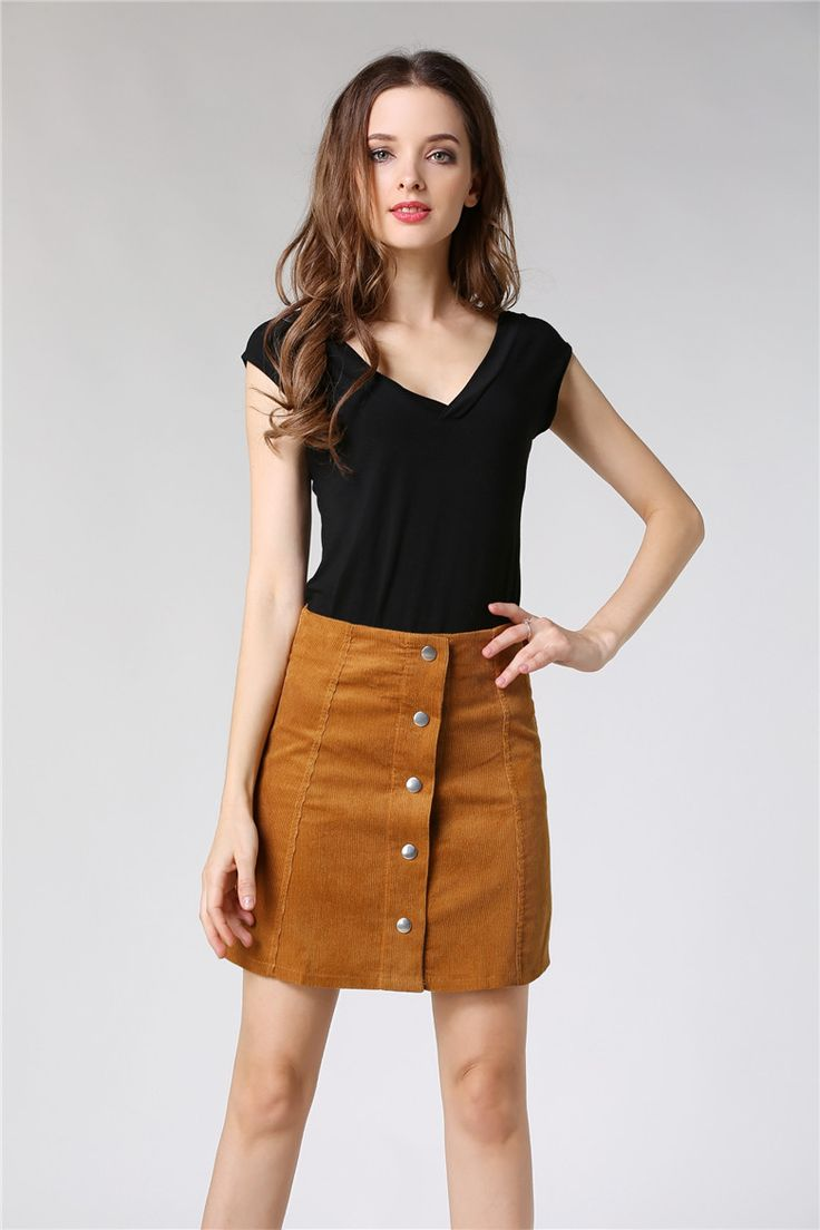 2016 spring and summer new retro fashion wild thin corduroy skirt, breasted skirt, A shaped skirt