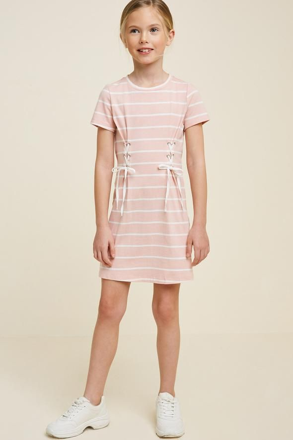 e701740e85 Striped Corset Lace-Up T-Shirt Dress – Hayden Girls