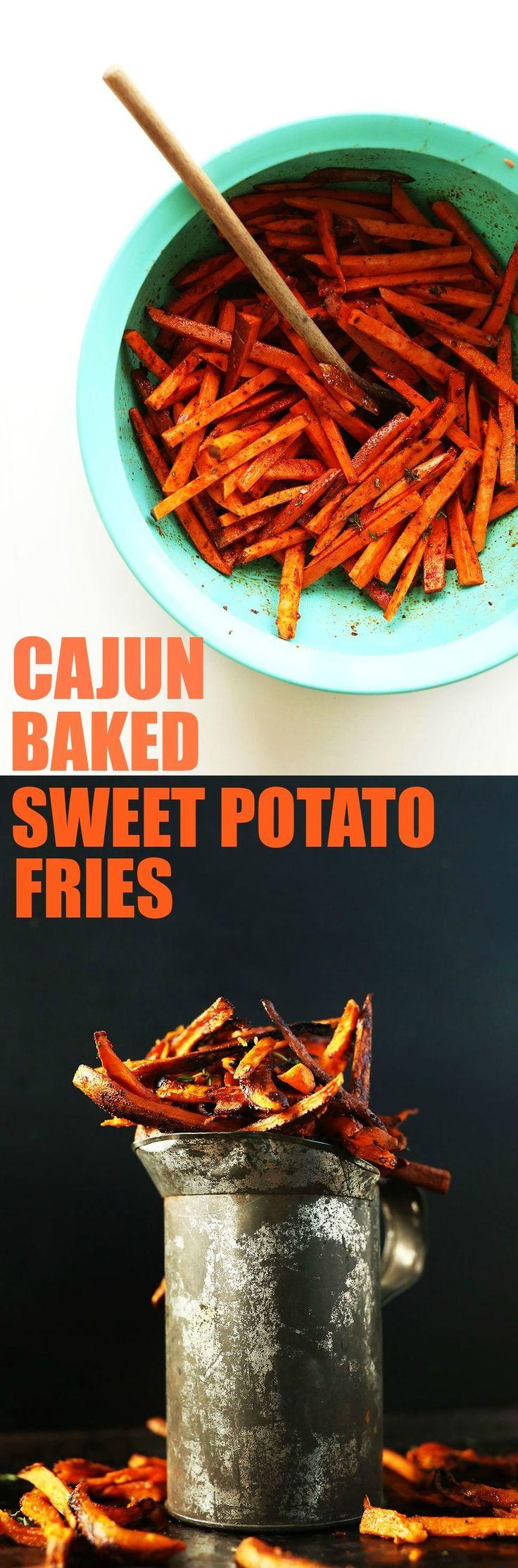 Easy CRISPY Cajun Baked Sweet Potatoes Fries! #healthy #vegan #glutenfree