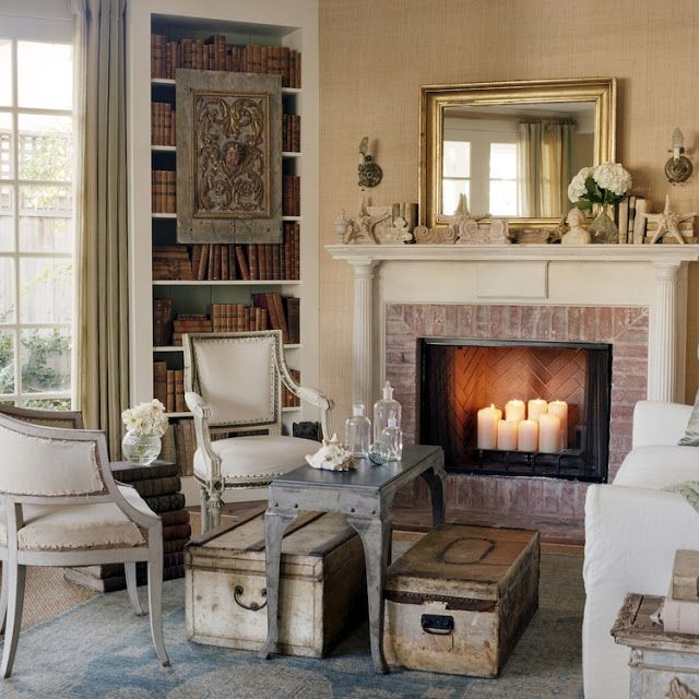 Patina style in a living room of a California beach cottage by Giannetti Home