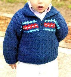 sueter para niño tejido en crochet con cuello y guarda
