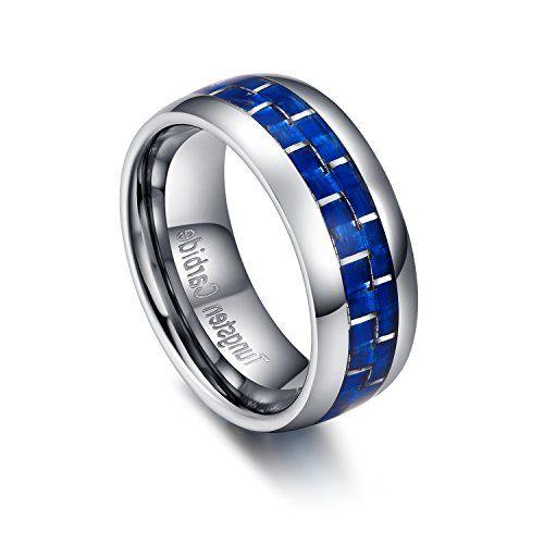 メンズ レディース タングステン リング 指輪, カーボン 炭素繊維 研磨 平打ち 結婚指輪,ブルー&シルバー(銀…