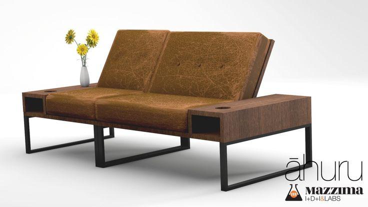 Ahuru by Mazzima Labs 06 | Mucho más sobria resulta la combinación de madera de nogal con un cuero desgastado vintage marrón. Creando una combinación perfecta para los espacios mas elegantes.
