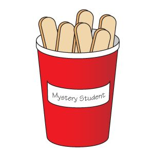 """Behaviour Motivation - Write each child's name on one end of a craft stick and store the sticks name down in a cup labeled """"Mystery Student."""" Choose a behavior and write it on the board. Select a stick, but don't reveal the name. Throughout the lesson, monitor for the behavior. If he achieves the goal behavior, reveal his identity and reward him (sitting at the teacher's desk, writing with a special pen, etc). If not, tell the class that there was not a winner this time."""