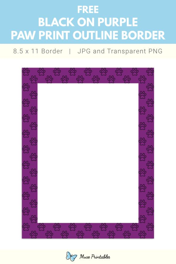 Black On Purple Paw Print Outline Page Border In 2020 Paw Print Printable Border Outline All images is transparent background and free download. pinterest