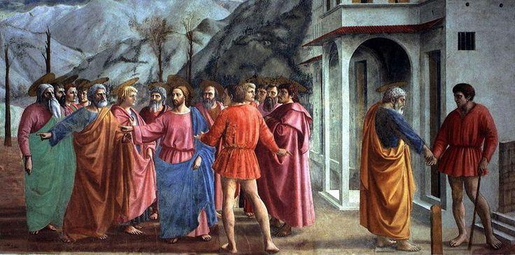 Masaccio, Tribute Money 1427, Brancacci Chapel of Santa Maria della Carmine in Florence