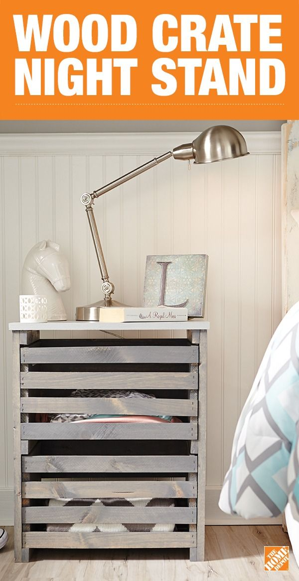 Build an on-trend wood crate night stand and create extra storage for your bedside. This double-drawer night stand is simple to build with our Do-It-Herself project guide and completely customizable. Click to get the DIY how-to.