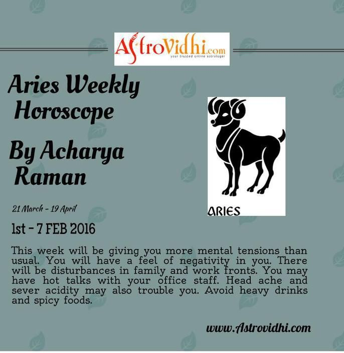 Check your Aries weekly Horoscope ( from 1 to 7 Feb 2016 ) and plan your full week accordingly.