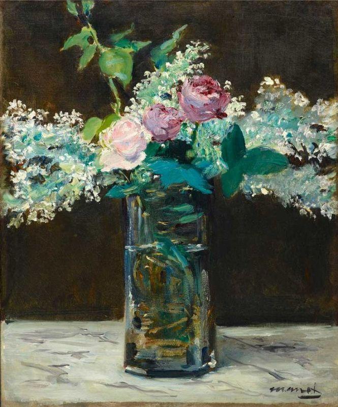 Эдуард Мане Ваза с белой сиренью и розами 1883, 54×45см.