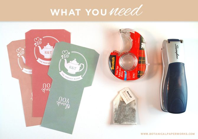 Everything you need to create adorable wedding favor tea packages. Free printable