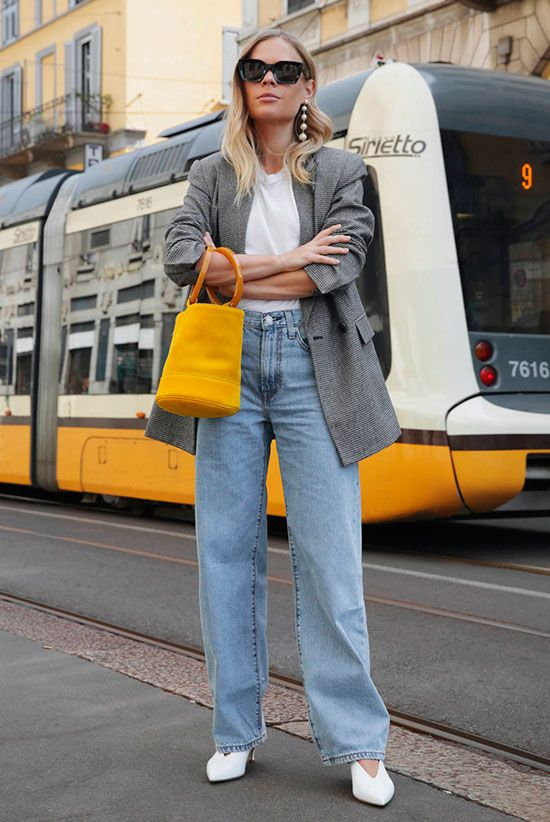 Grey plaid blazer, white t-shirt, wide leg jeans, white pumps, black sunglasses, yellow bucket bag - Fall outfits, fall fashion trends 2017, fall fashion, street style, casual outfits, comfy outfits.