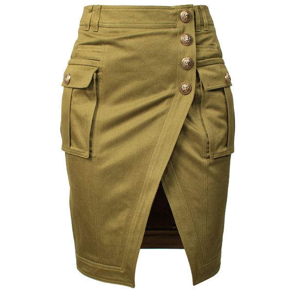 BALMAIN Kaki Button Skirt found on Polyvore