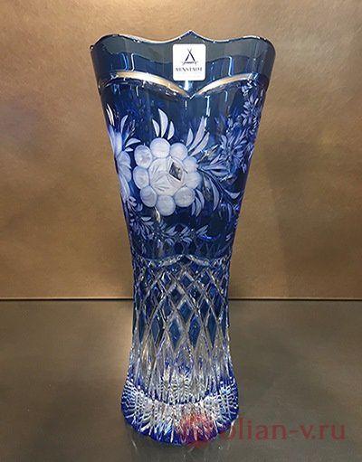 "Хрустальная ваза ""Natalie"". Цветной хрусталь, цвет аквамарин. Немецкий завод Arnstadt."