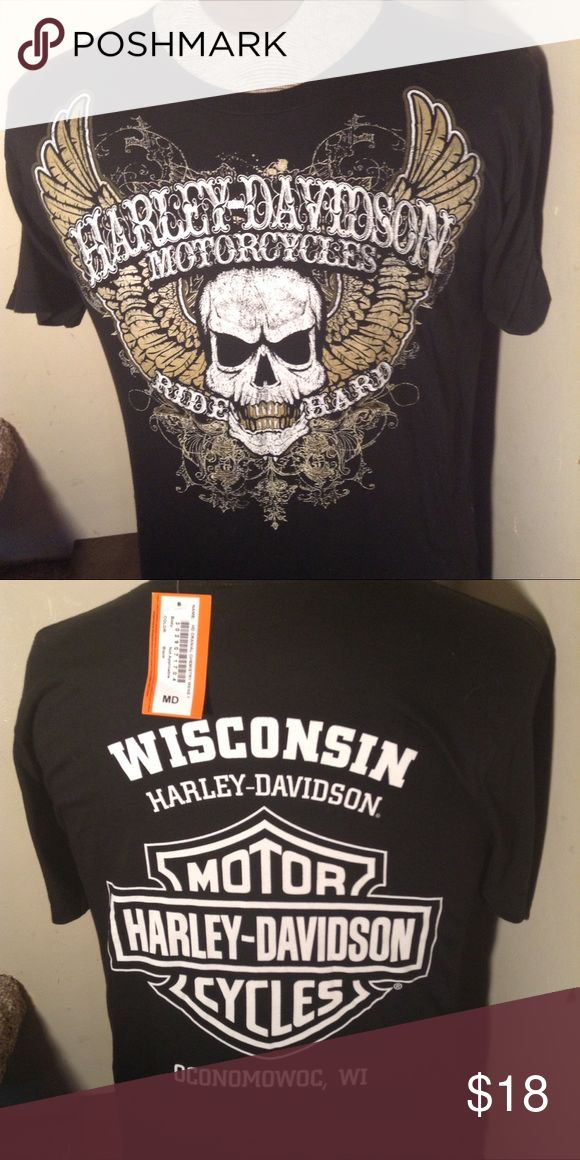 """NWT HARLEY DAVIDSON TSHIRT WISCONSIN New with tags. Harley Davidson dealer tee shirt. Great HD skull logo on front and Wisconsin Harley dealer logo on back. Made by Harley Davidson. This'll is a men's size M Medium. Check out all our Harley to see all of our Harley items to bundle and save.   Any 2 HD shirts. - subtract $2 from total Any 3 HD shirts - subtract $5 from total Any 4 HD shirts - subtract $7 from total Any 5 HD shirts. -"""" subtract $10 from total Harley-Davidson Shirts Tees…"""