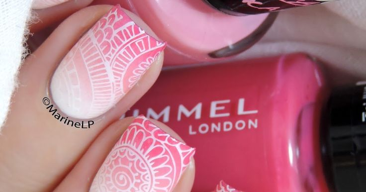 Review of the Bundle Monster Shangri-La collection // Pink gradient and white stamping.
