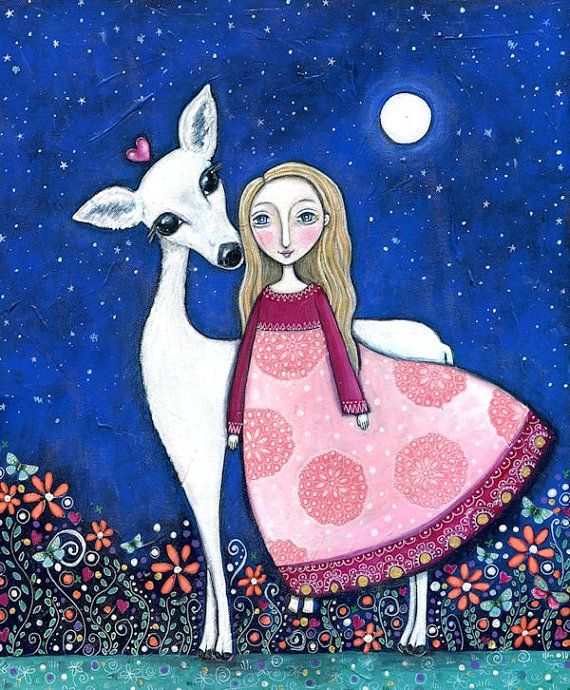 Animal Folk Art Paintings | Childrens wall print folk art painting animal art white deer girl ...