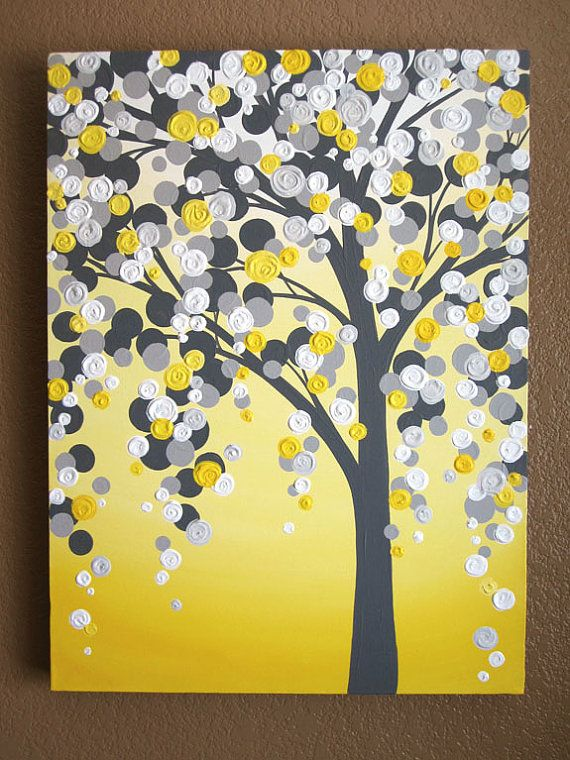 Yellow and Grey Art 18x24 Textured Tree by MurrayDesignShop