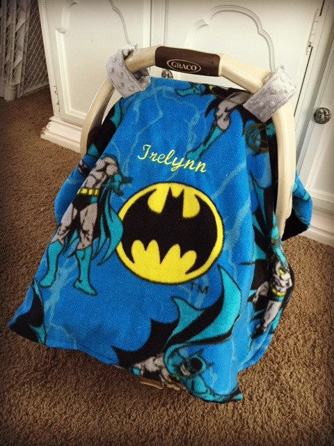 Batman Baby Carseat Canopy- with Minky underneath! by KyliezKreationz on Etsy https://www.etsy.com/listing/211661048/batman-baby-carseat-canopy-with-minky